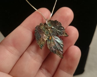 Hops Leaf Pendant with Sterling Chain Beer Lover