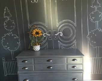 Handpainted Gray dresser with pulls