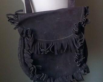 Fringe Suede Crossbody Bag // Hippie bag // Boho Purse // Brown Suede Purse // Vintage Fringe Bag // 70's Fringe Bag // 70's Boho // 1970's