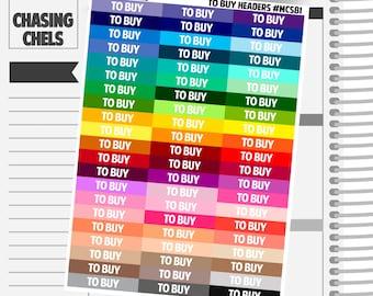 To Buy Headers #MCS81 Premium Matte Planner Stickers
