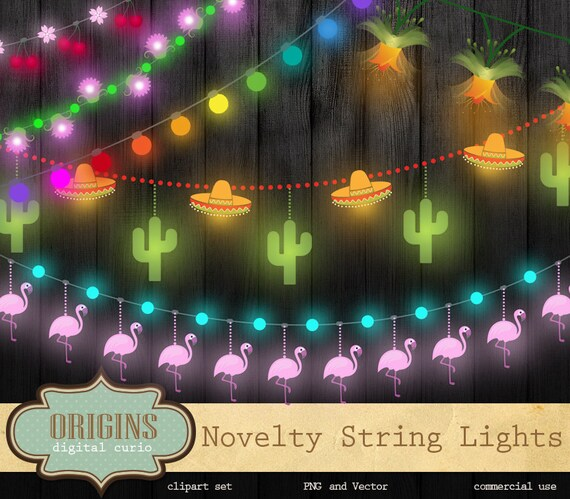 Novelty String Lights Clipart, String Lights Clip Art, Fiesta, Birthday  Party, Luau, Cocktail Garden Party String Lights Vector Clipart