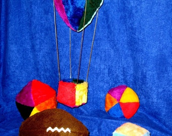 Air Ship Easy Sewing Pattern to Make Colorful Plush Balloon for Childs Bedroom Decor plus a block Four Balls and a Football