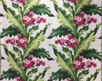 Vintage Barkcloth * Red and Pink Floral with Green Foliage * Cotton Drapery Panel * Upholstery Fabric