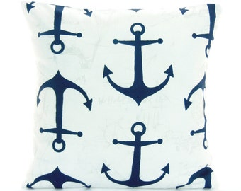 Navy Anchors Pillow ALL SIZES Nautical Throw Pillow COVER Navy White Beach Pillow Cushion Couch Pillow Cottage Decor Bedding Pillow Coastal