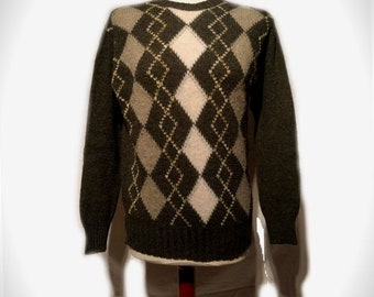 Mens 1980's does 1940's Chequered Jumper