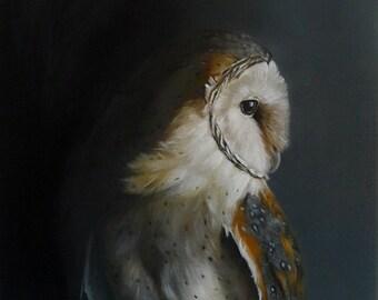 Owl Print, Owl wall painting, Owl art, Barn Owl, Owl art, Bird art, Owl decor, Owl wall art, bird  PRINT woodland art, black, gift for men