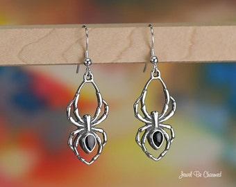 Large Black Spider Earrings Sterling Silver Pierced Fishhook Earwires