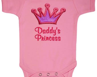 Embroidered Daddy's Princess Baby Girl PINK Gown or Bodysuit by Funny Girl Designs