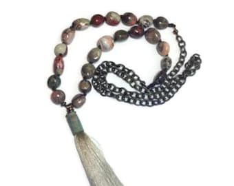 Tassel Necklace, Layer Necklace, Beaded Necklace, Stone Jewelry, Beaded Jewelry, Rustic Jewelry, OOAK Necklace, Hand Knotted