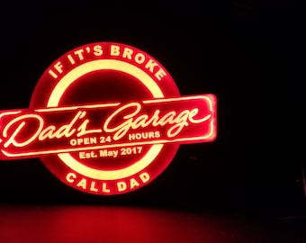 CUSTOM Dad's Garage Acrylic LEDs Sign Engraved Desk Sign Neon light Sign Color Changing Remote Control 3  sizes 6x6/8x8/12x12 FREE Shipping