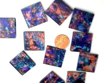 Van Gogh Violet Bluegreen Copper Mosaic Tile
