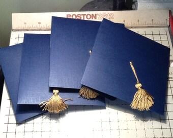 Graduation Cap Invitation or Announcement - Navy, High school, College, Unique