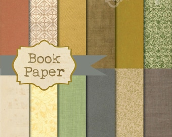 Instant Download - Vintage Book Paper 12x12 printable paper set digital download