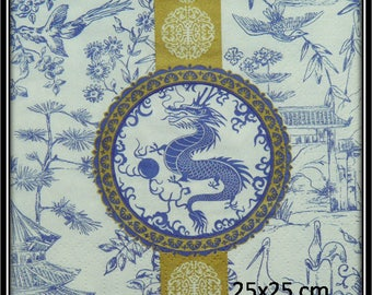 dragon medallion and blue Asian paper towel