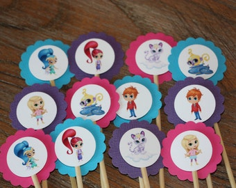 Shimmer and Shine Themed Cupcake Toppers (Shimmer, Shine, Leah, Zac, Nahal, Tala) - Set of 12