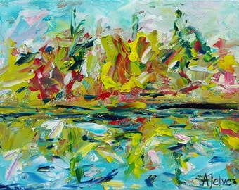 """Original abstract landscape painting Lake painting Reflection on lake Tree Colorful abstract Colorful Blue green art Small oil painting 6x8"""""""