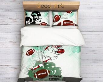 American Football Bedding,Football Duvet Cover Set,Football Comforter,Athletic Bedding,Sport inspired Bedding Set,College Bedding