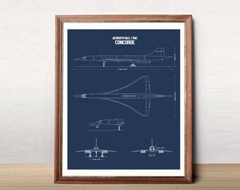 """Concorde Blueprint, Concorde Jet, Blueprint Art, Instant Download, Concorde, Printable Art, Blue Prints, Aviation Decor, 8x10"""", 11x14"""""""