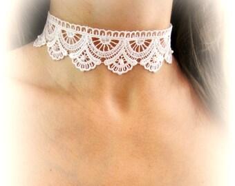 Girocollo pizzo bianco collana ricamata pizzo collana sposa girocollo merletto collarino nuziale gioielli matrimonio collana stoffa bianca