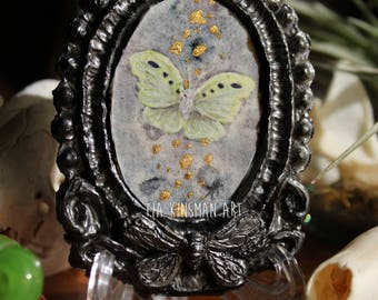 Gold Dust Little Moth Original Tiny Cameo Painting