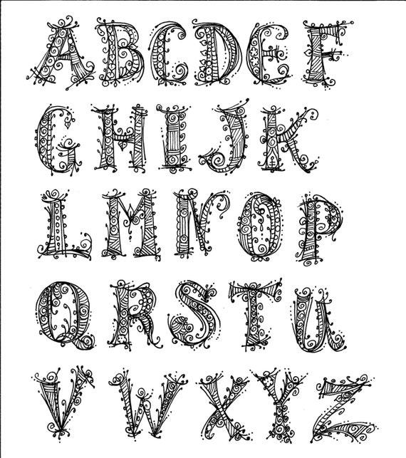 Instant Download Alphabet henna Style chalk art decor/coloring