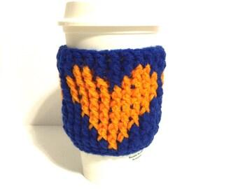 Blue coffee cozy, travel cup cozy, coffee cup sleeve, orange heart cozy, blue java cozy, blue cup insulator, java cozy, blue   crochet cozy
