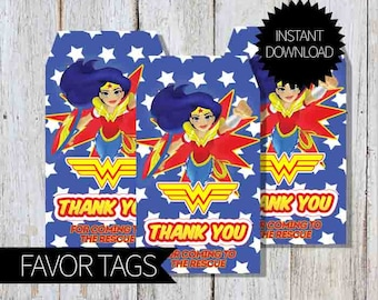 Wonder Woman Girls Birthday Party PRINTABLE Favor Tags- Instant Download | DC comics | DC Super Hero Girls | WonderWoman
