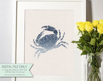 Crab Watercolor Print - Nautical Print - Ombre Watercolor - Nautical Decor - INSTANT DOWNLOAD Digital File Only {8x10}