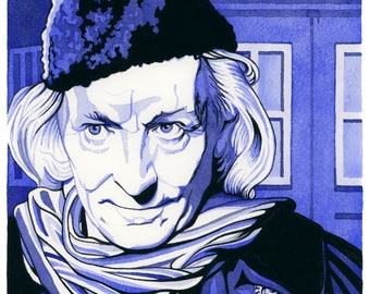 ORIGINAL watercolour/gouache painting of WILLIAM HARTNELL (Doctor Who) by Chris Naylor