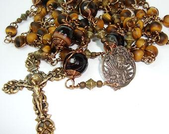 Catholic rosary,Sacred Heart of Jesus rosary, gemstone rosary, rosary,tigers eye,Abundant GRace,free shipping,bronze and brass components