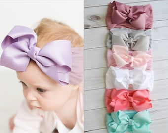 """Nylon Bow Headbands, Large ribbon bow, One size fits all nylon headbands, wide nylon headband, baby headband, 5"""" BOW NYLON head wrap"""