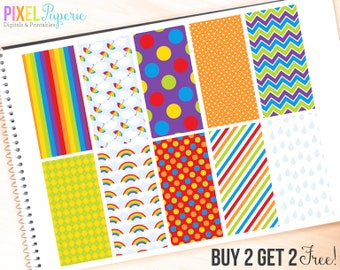spring digital papers rainbow rain umbrella - Rainy Day Digital Papers