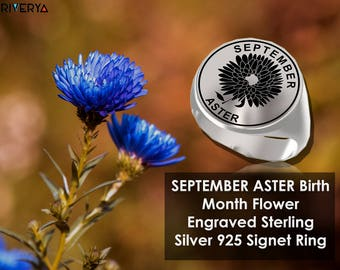Flower Ring, September Flower Ring, Aster Flower, Flower Ring, Birth Month Flower Ring, Birth Flower, Aster, Aster Ring, September Flower