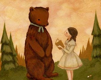 Children's Art - A Story For Mr Bear Print 5x7 / 6x8 - Book Art, Reading, Girl, Forest, Pink, Mint, Green, Cream,  Nursery, Cute, Pastel