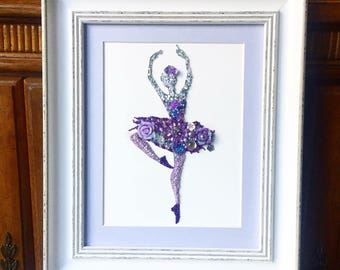 Ballerina Lilac and lavendar sparkly button art Birthday Gift