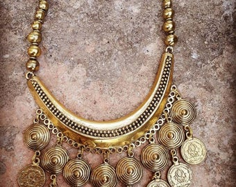Gypsy brass necklace, boho necklace, ethnic necklace, tribal necklace