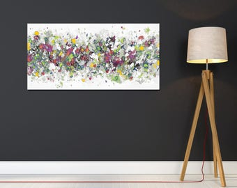 Large Panoramic Abstract Canvas, Wall Art, Green Red White and Grey Abstract Art Print, Modern Canvas Print, Giclee Print,