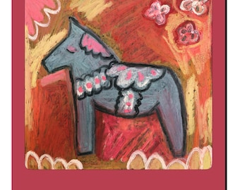 Dala Horse pink red and gray nursery art print