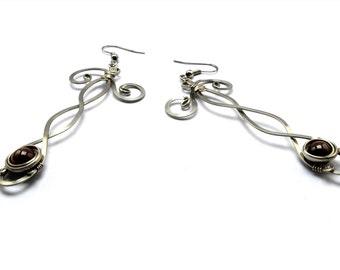 Red Garnet Earrings, Wire Wrap Earrings, Dangle Earrings, Long Earrings, Gemstone Earrings, Drop Earrings, Delicate Earrings, Vintage Style
