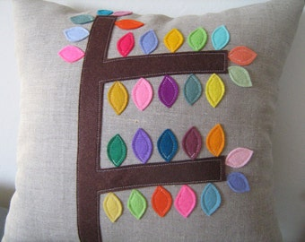 Mod Tree Rainbow Leaves Pillow in Oatmeal Linen