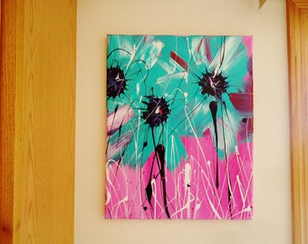 Aqua and White Abstract Spring Flower Acrylic Painting # 2 Bursting With Bold Colors