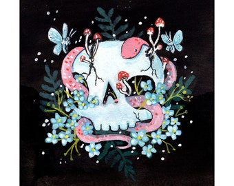 Forget Me Not. Blooming Skull Print. Limited Edition.