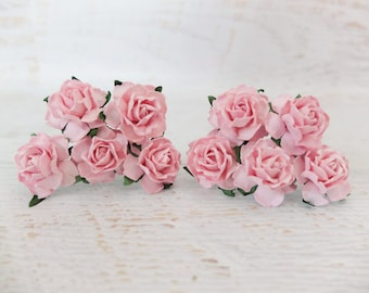 """1"""" pink paper roses - pink paper flowers (style 1)"""