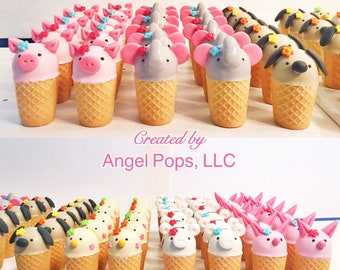 Ice cream cone animal cake pops