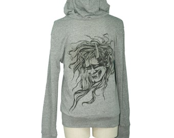 Eco Grey Japanese Oni, Demon Head, Monster Screen Printed Unisex Long Sleeved Hoodie, Folklore, Gifts for Him or Her