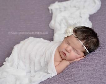 Ruffle Stretch Fabric Wrap White Newborn Photography Prop Posing Swaddle