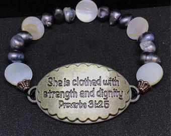 Christian Pearl & Shell Bracelet Proverbs 31:25