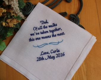 Fatherof the Bride handkerchief, Of all the walks we've taken , father of the bride gift, wedding handkerchief for Dad, Dad Gift MS3F23