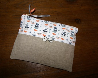 Zipped linen and grey and orange flowers