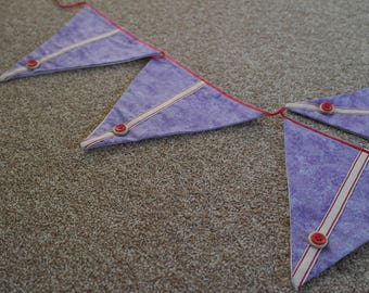 Bunting, Fabric Bunting, Triangles, Purple, Buttons, Wall decoration, bedroom, lounge, kitchen, gift, present, wedding